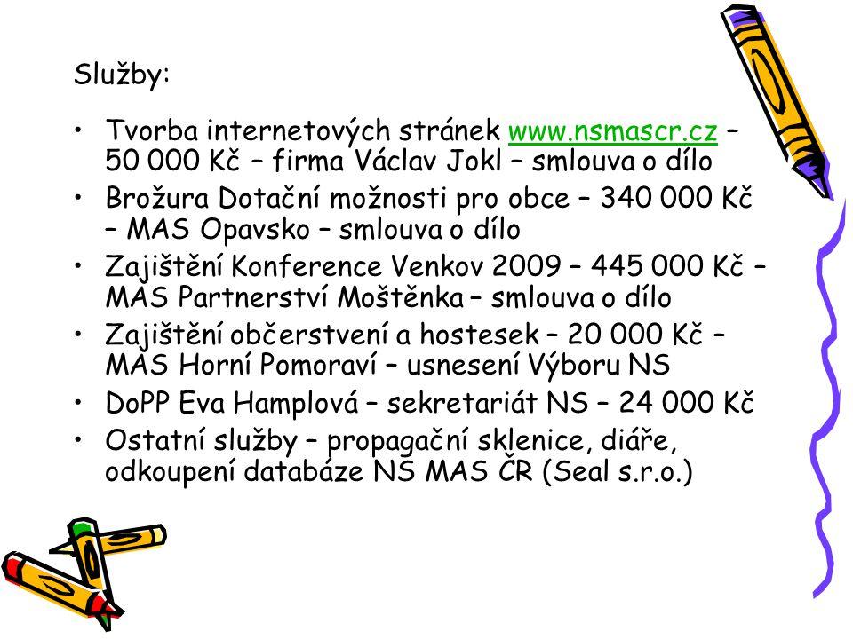 Výsledek hospodaření: Stav na pokladně NS MAS – 1 913 Kč Stav na bankovním účtu NS MAS – 313 426,14 Kč Výsledek hospodaření NS MAS ČR za rok 2009: + 175 199,98 Kč