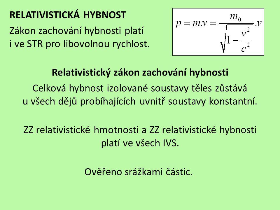 RELATIVISTICKÁ HYBNOST Zákon zachování hybnosti platí i ve STR pro libovolnou rychlost. Relativistický zákon zachování hybnosti Celková hybnost izolov