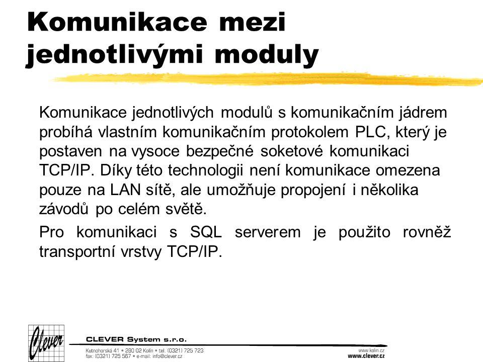 Komunikace mezi jednotlivými moduly Komunikace jednotlivých modulů s komunikačním jádrem probíhá vlastním komunikačním protokolem PLC, který je postaven na vysoce bezpečné soketové komunikaci TCP/IP.