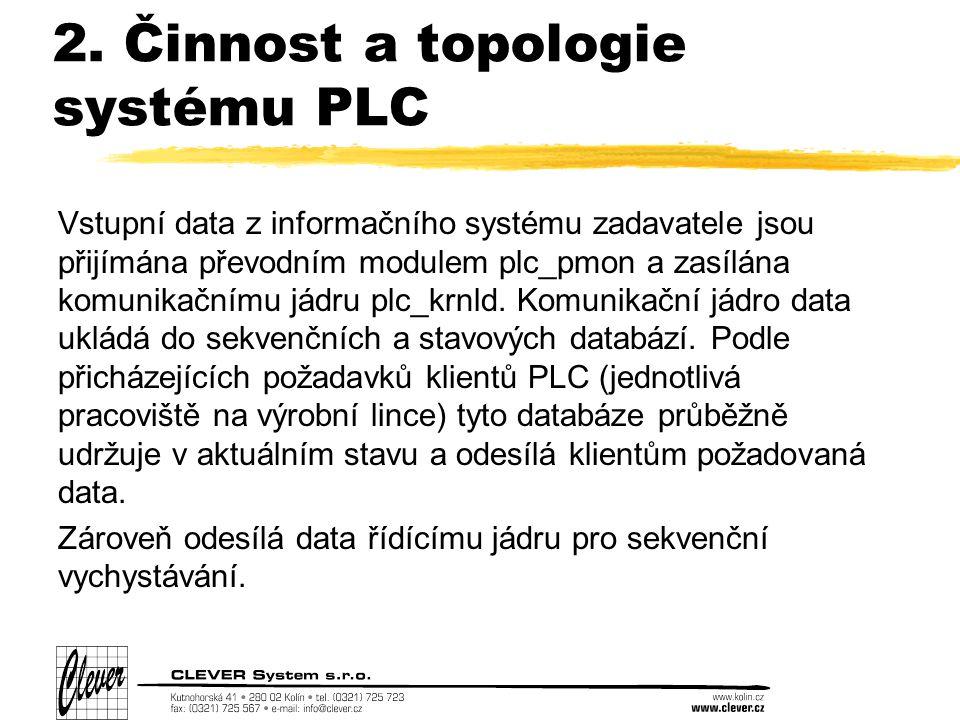 2. Činnost a topologie systému PLC Vstupní data z informačního systému zadavatele jsou přijímána převodním modulem plc_pmon a zasílána komunikačnímu j
