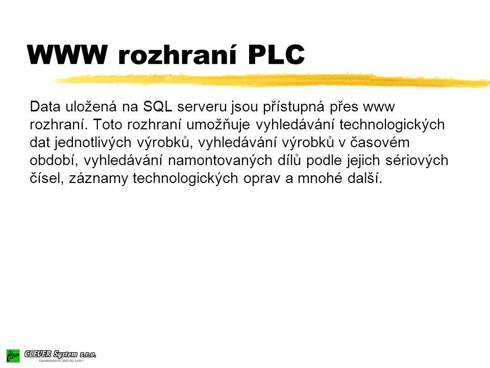 WWW rozhraní PLC Data uložená na SQL serveru jsou přístupná přes www rozhraní.
