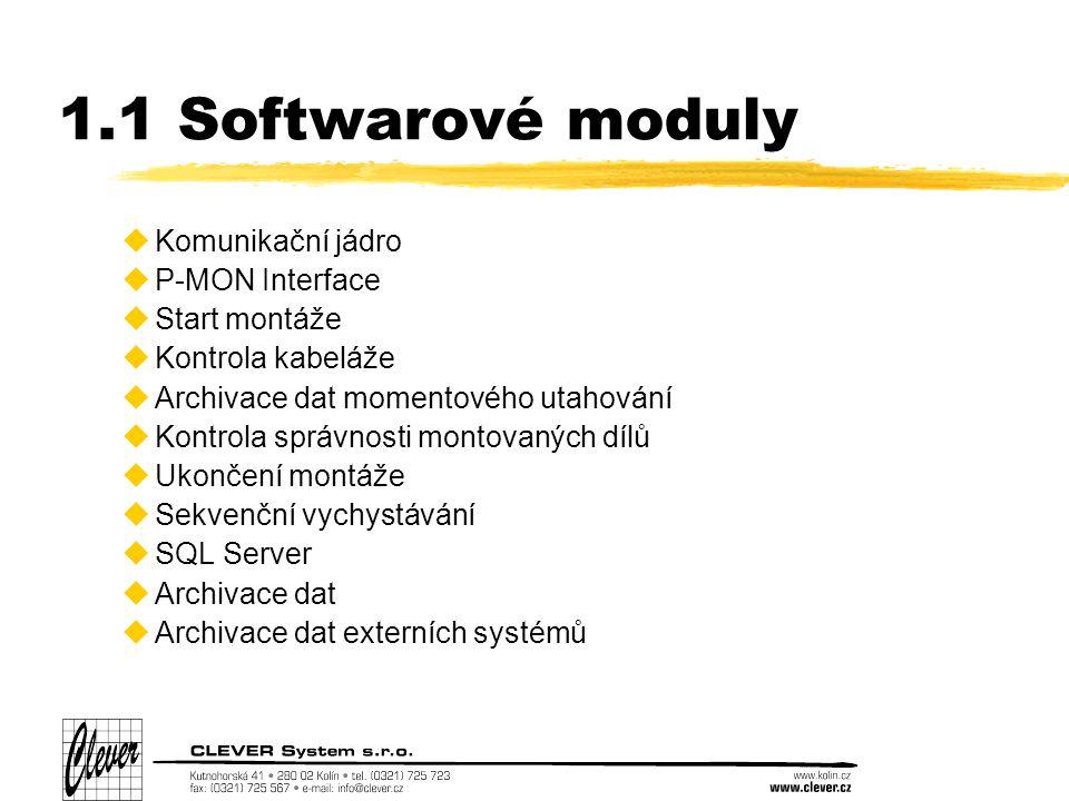 1.1 Softwarové moduly uKomunikační jádro uP-MON Interface uStart montáže uKontrola kabeláže uArchivace dat momentového utahování uKontrola správnosti montovaných dílů uUkončení montáže uSekvenční vychystávání uSQL Server uArchivace dat uArchivace dat externích systémů