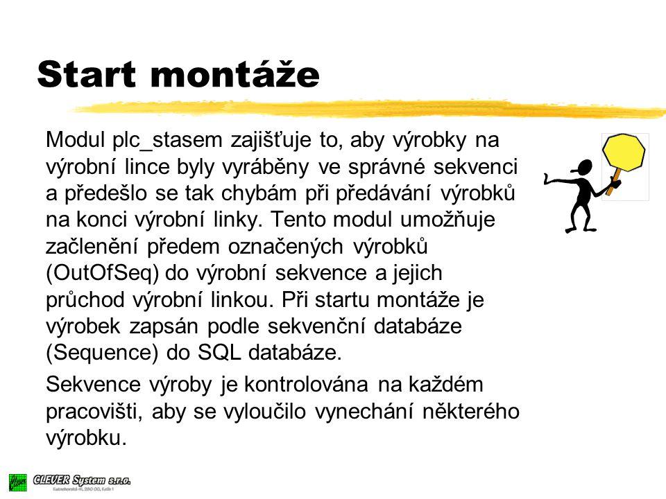 Start montáže Modul plc_stasem zajišťuje to, aby výrobky na výrobní lince byly vyráběny ve správné sekvenci a předešlo se tak chybám při předávání výrobků na konci výrobní linky.