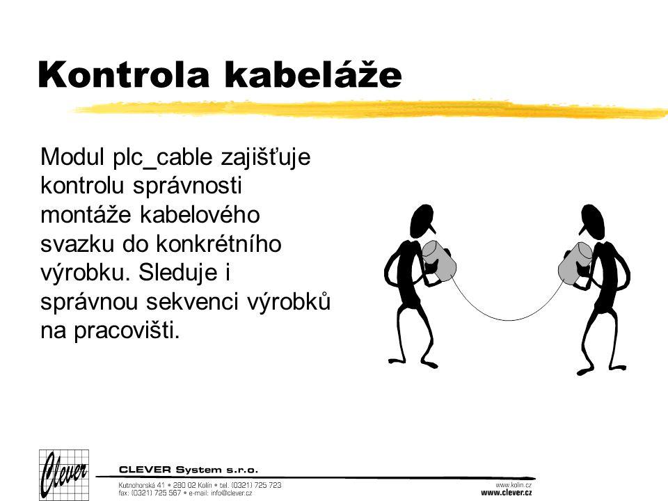 Kontrola kabeláže Modul plc_cable zajišťuje kontrolu správnosti montáže kabelového svazku do konkrétního výrobku.
