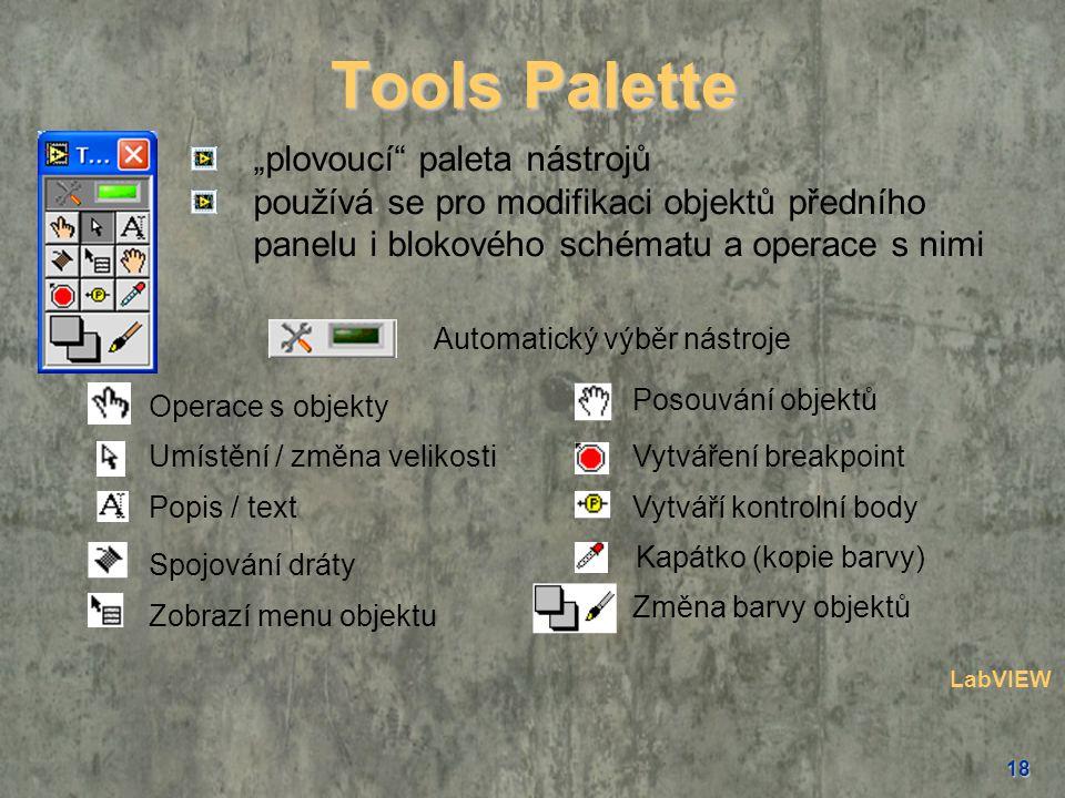 """18 """"plovoucí"""" paleta nástrojů používá se pro modifikaci objektů předního panelu i blokového schématu a operace s nimi Operace s objekty Posouvání obje"""