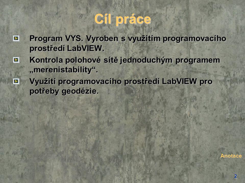 """2 Cíl práce Program VYS. Vyroben s využitím programovacího prostředí LabVIEW. Kontrola polohové sítě jednoduchým programem """"merenistability"""". Využití"""