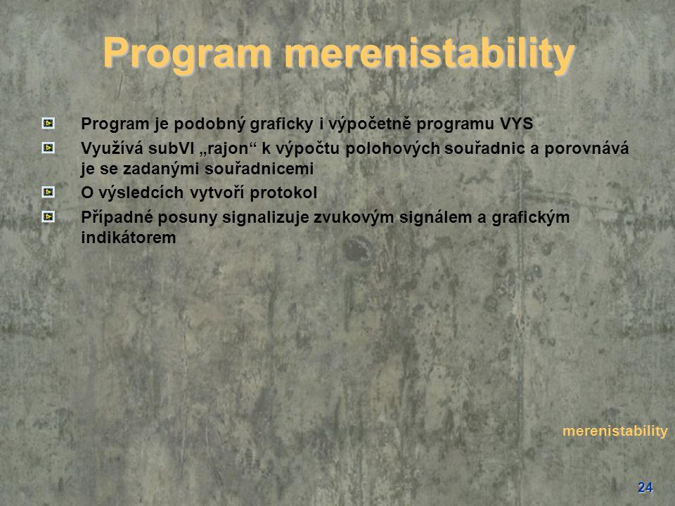 """24 Program merenistability Program je podobný graficky i výpočetně programu VYS Využívá subVI """"rajon"""" k výpočtu polohových souřadnic a porovnává je se"""