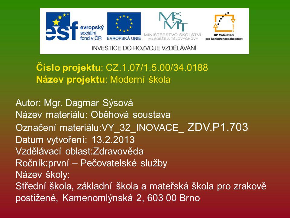Číslo projektu: CZ.1.07/1.5.00/34.0188 Název projektu: Moderní škola Autor: Mgr. Dagmar Sýsová Název materiálu: Oběhová soustava Označení materiálu:VY