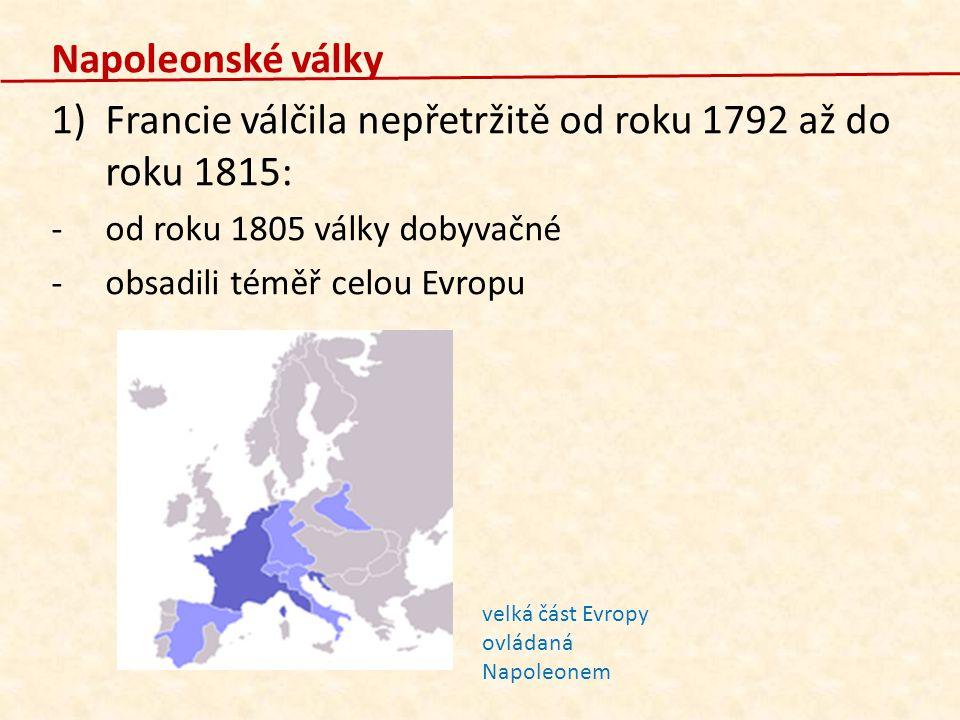 Napoleonské války 1)Francie válčila nepřetržitě od roku 1792 až do roku 1815: -o-od roku 1805 války dobyvačné -o-obsadili téměř celou Evropu velká čás