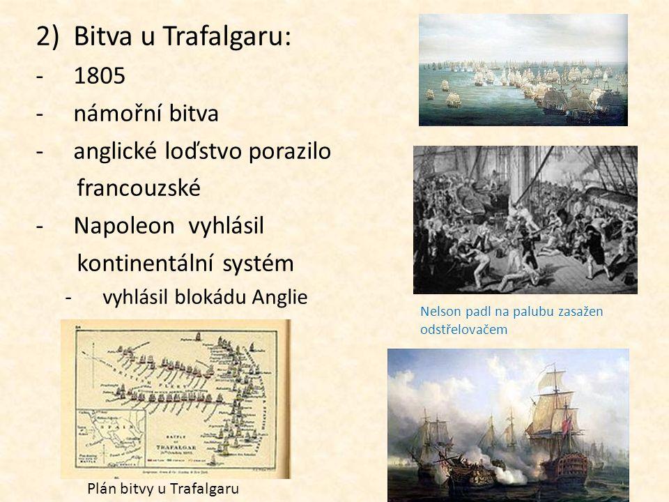 2)Bitva u Trafalgaru: -1805 -n-námořní bitva -a-anglické loďstvo porazilo francouzské -N-Napoleon vyhlásil kontinentální systém -v-vyhlásil blokádu An