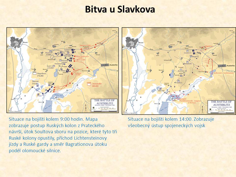 Bitva u Slavkova Situace na bojišti kolem 9:00 hodin. Mapa zobrazuje postup Ruských kolon z Prateckého návrší, útok Soultova sboru na pozice, které ty