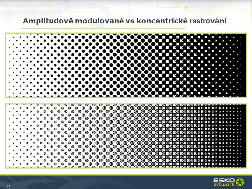 10 Amplitudově modulované vs koncentrické rastro vání