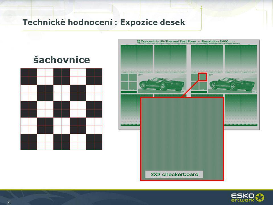 23 šachovnice Technické hodnocení : Expozice desek