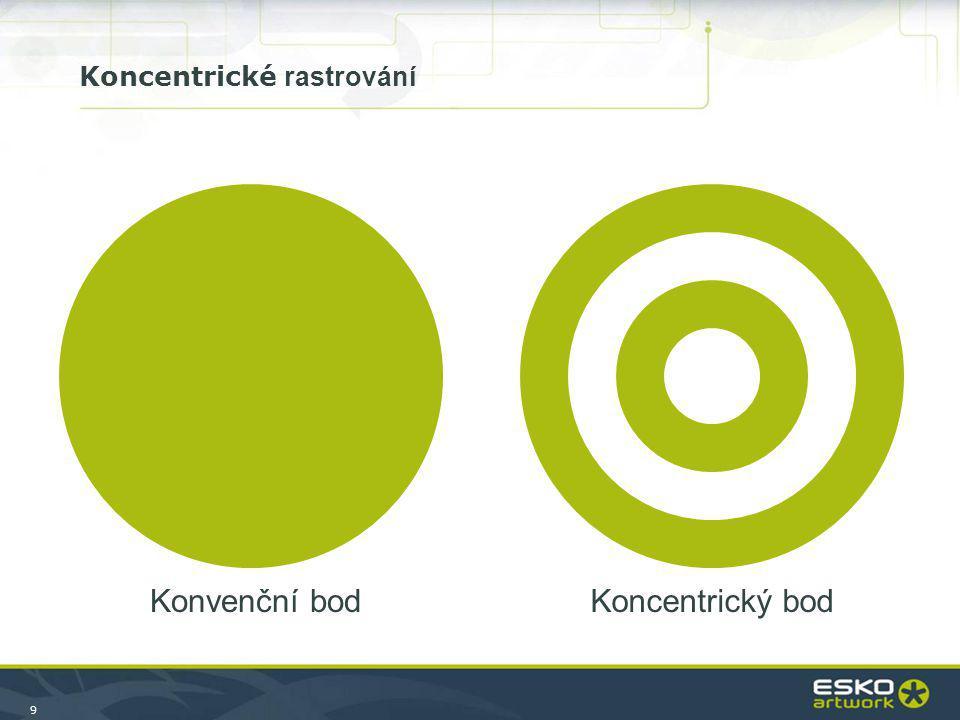 9 Konvenční bodKoncentrický bod Koncentrické rastrování