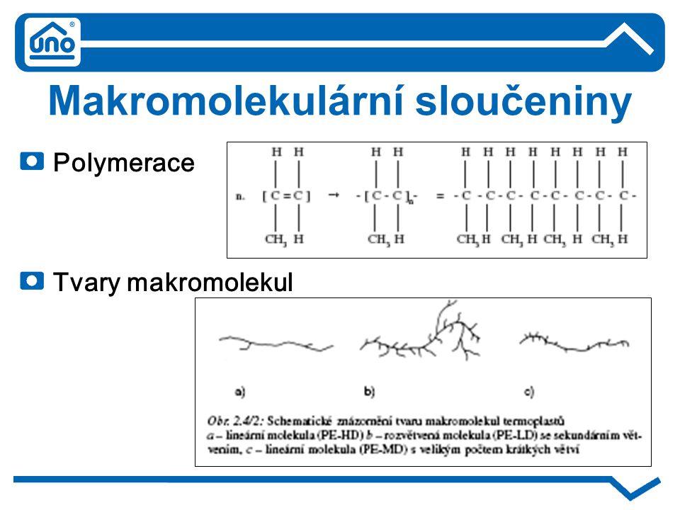 Makromolekulární sloučeniny Polymerace Tvary makromolekul
