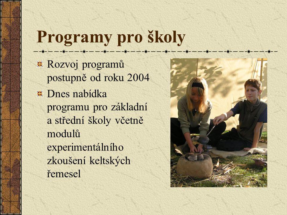 Programy pro školy Rozvoj programů postupně od roku 2004 Dnes nabídka programu pro základní a střední školy včetně modulů experimentálního zkoušení keltských řemesel