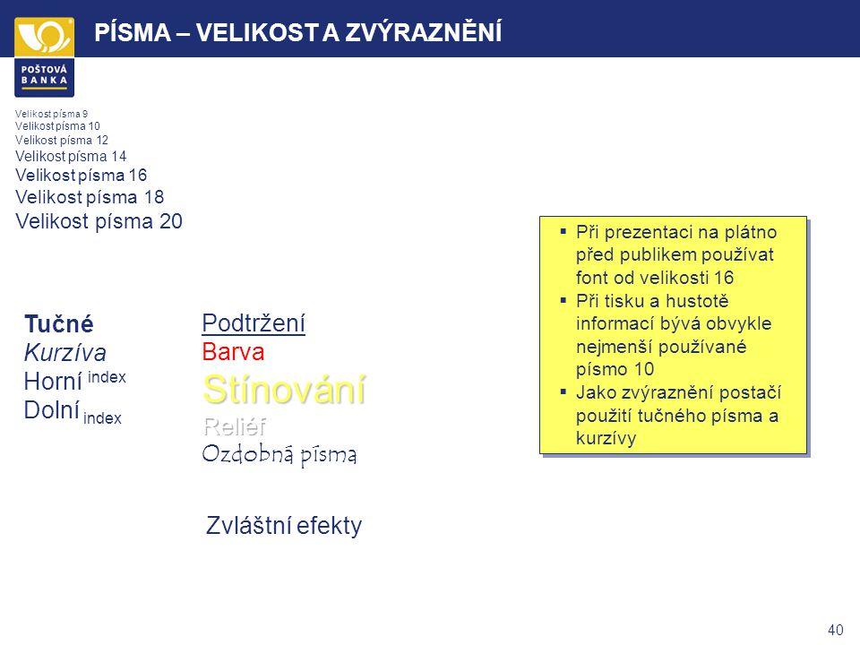 39 PÍSMA – POUŽITÍ Bezpatkové písmo Patkové písmo Arial Tahoma Verdana Times New Roman Courier Bookman Serif ARIAL TAHOMA VERDANA TIMES NEW ROMAN COUR