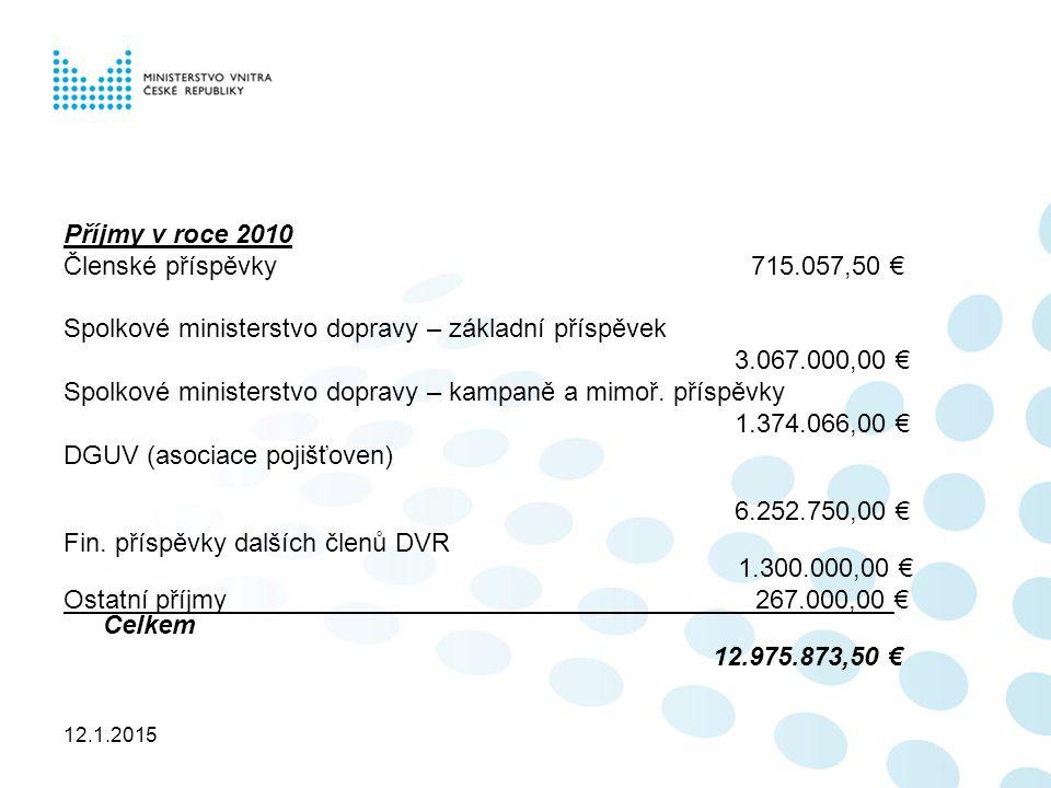 12.1.2015 Příjmy v roce 2010 Členské příspěvky 715.057,50 € Spolkové ministerstvo dopravy – základní příspěvek 3.067.000,00 € Spolkové ministerstvo dopravy – kampaně a mimoř.