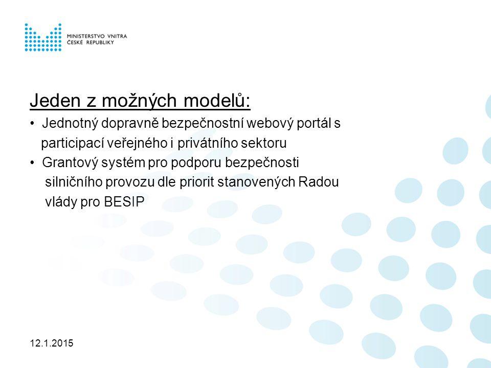 12.1.2015 Jeden z možných modelů: Jednotný dopravně bezpečnostní webový portál s participací veřejného i privátního sektoru Grantový systém pro podporu bezpečnosti silničního provozu dle priorit stanovených Radou vlády pro BESIP
