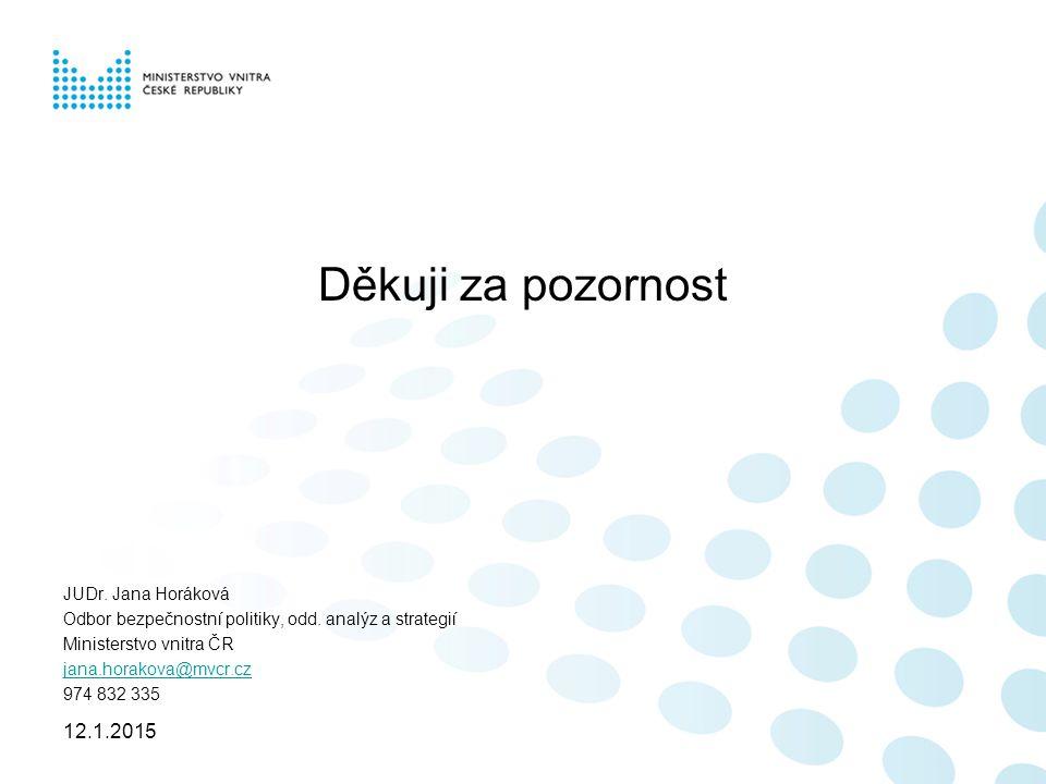 Děkuji za pozornost JUDr.Jana Horáková Odbor bezpečnostní politiky, odd.