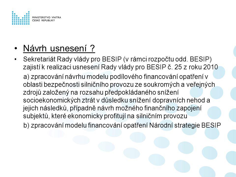 Návrh usnesení .Sekretariát Rady vlády pro BESIP (v rámci rozpočtu odd.