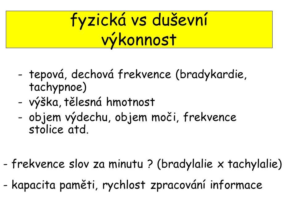 fyzická vs duševní výkonnost -tepová, dechová frekvence (bradykardie, tachypnoe) -výška, tělesná hmotnost -objem výdechu, objem moči, frekvence stolice atd.