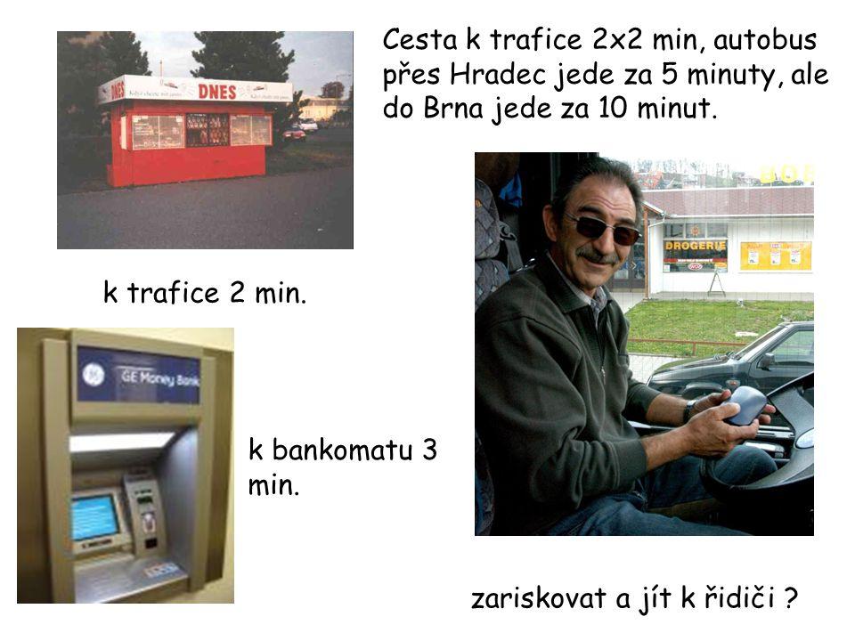 k trafice 2 min. k bankomatu 3 min. zariskovat a jít k řidiči ? Cesta k trafice 2x2 min, autobus přes Hradec jede za 5 minuty, ale do Brna jede za 10