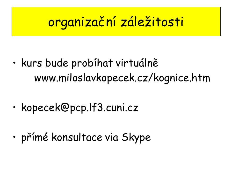 organizační záležitosti kurs bude probíhat virtuálně www.miloslavkopecek.cz/kognice.htm kopecek@pcp.lf3.cuni.cz přímé konsultace via Skype