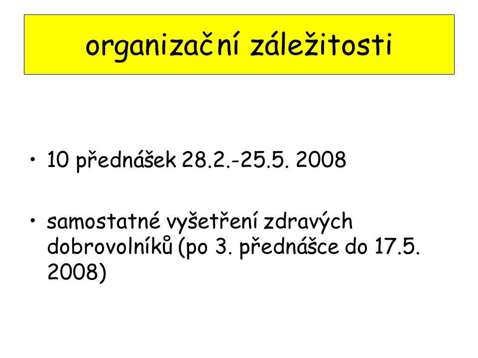 10 přednášek 28.2.-25.5. 2008 samostatné vyšetření zdravých dobrovolníků (po 3. přednášce do 17.5. 2008) organizační záležitosti