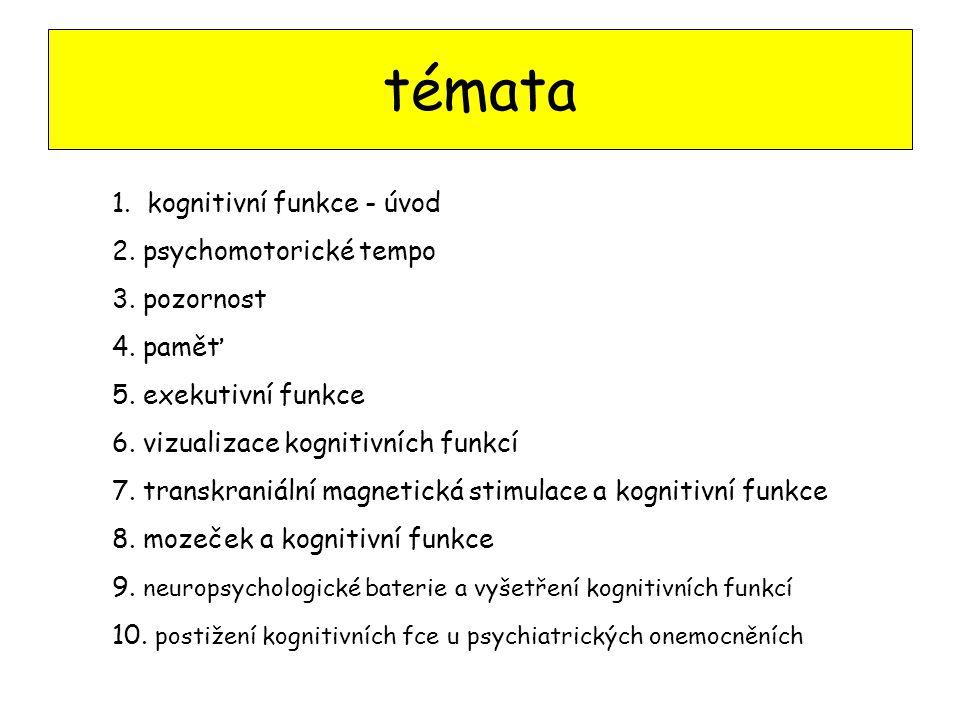 témata 1. kognitivní funkce - úvod 2. psychomotorické tempo 3. pozornost 4. paměť 5. exekutivní funkce 6. vizualizace kognitivních funkcí 7. transkran