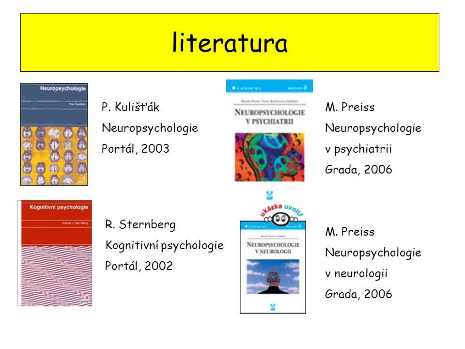 literatura P. Kulišťák Neuropsychologie Portál, 2003 R. Sternberg Kognitivní psychologie Portál, 2002 M. Preiss Neuropsychologie v psychiatrii Grada,