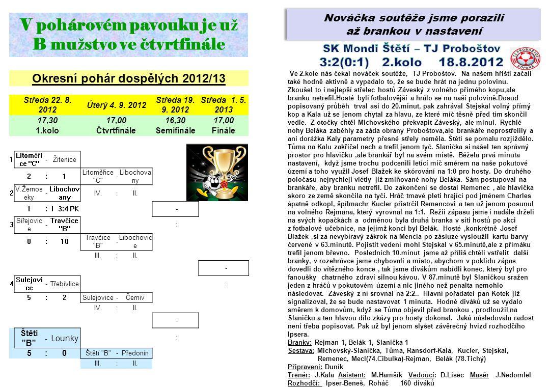 Nováčka soutěže jsme porazili až brankou v nastavení Nováčka soutěže jsme porazili až brankou v nastavení Okresní pohár dospělých 2012/13 Středa 22. 8
