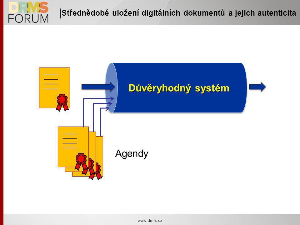 www.drms.cz Střednědobé uložení digitálních dokumentů a jejich autenticita Důvěryhodný systém Agendy