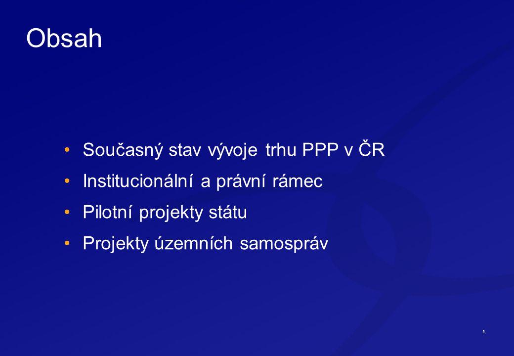 1 Obsah Současný stav vývoje trhu PPP v ČR Institucionální a právní rámec Pilotní projekty státu Projekty územních samospráv