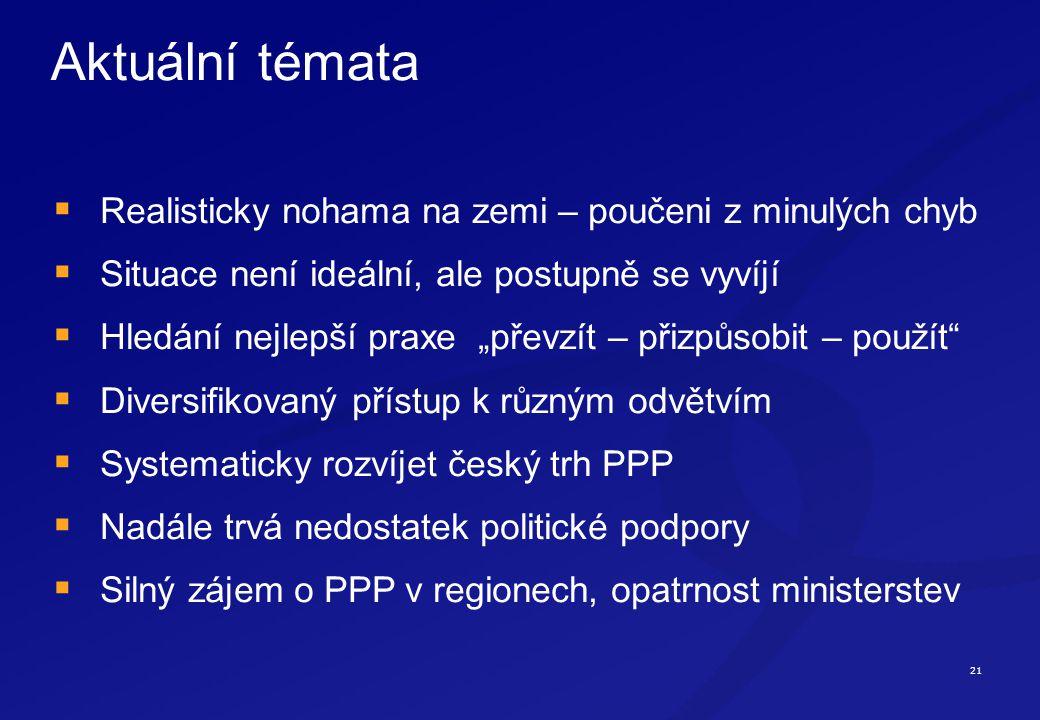 """21 Aktuální témata  Realisticky nohama na zemi – poučeni z minulých chyb  Situace není ideální, ale postupně se vyvíjí  Hledání nejlepší praxe """"převzít – přizpůsobit – použít  Diversifikovaný přístup k různým odvětvím  Systematicky rozvíjet český trh PPP  Nadále trvá nedostatek politické podpory  Silný zájem o PPP v regionech, opatrnost ministerstev"""