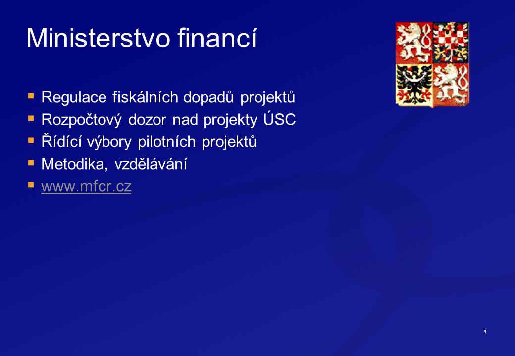 4 Ministerstvo financí  Regulace fiskálních dopadů projektů  Rozpočtový dozor nad projekty ÚSC  Řídící výbory pilotních projektů  Metodika, vzdělávání  www.mfcr.cz www.mfcr.cz