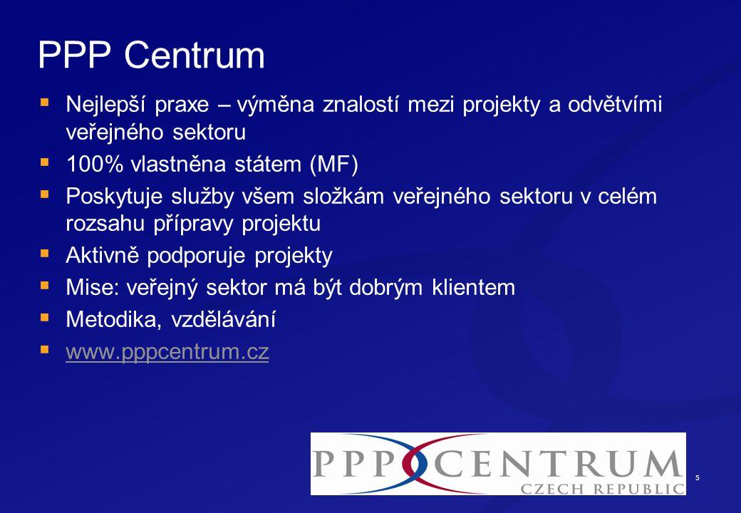 5 PPP Centrum  Nejlepší praxe – výměna znalostí mezi projekty a odvětvími veřejného sektoru  100% vlastněna státem (MF)  Poskytuje služby všem složkám veřejného sektoru v celém rozsahu přípravy projektu  Aktivně podporuje projekty  Mise: veřejný sektor má být dobrým klientem  Metodika, vzdělávání  www.pppcentrum.cz www.pppcentrum.cz
