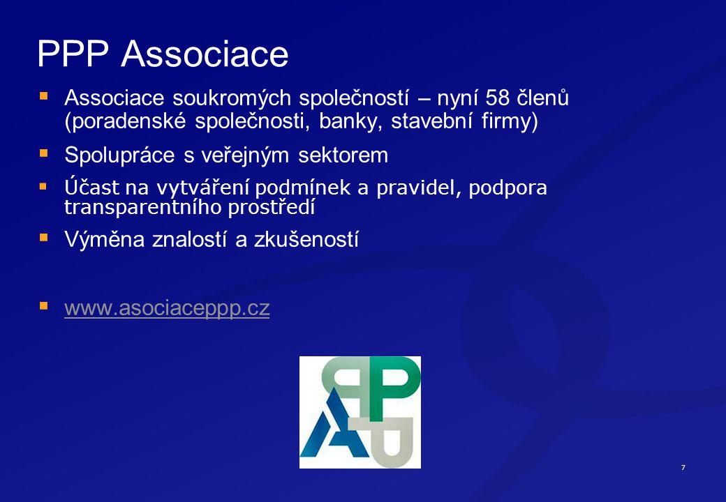 7 PPP Associace  Associace soukromých společností – nyní 58 členů (poradenské společnosti, banky, stavební firmy)  Spolupráce s veřejným sektorem  Účast na vytváření podmínek a pravidel, podpora transparentního prostředí  Výměna znalostí a zkušeností  www.asociaceppp.cz www.asociaceppp.cz