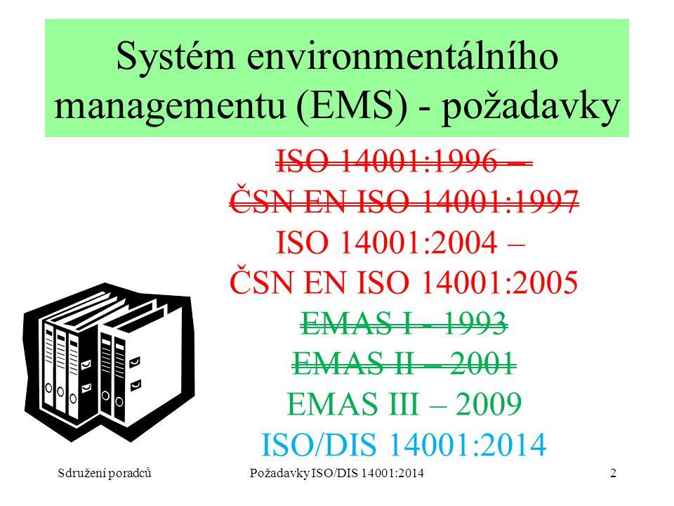 Sdružení poradcůPožadavky ISO/DIS 14001:20142 Systém environmentálního managementu (EMS) - požadavky ISO 14001:1996 – ČSN EN ISO 14001:1997 ISO 14001:2004 – ČSN EN ISO 14001:2005 EMAS I - 1993 EMAS II – 2001 EMAS III – 2009 ISO/DIS 14001:2014