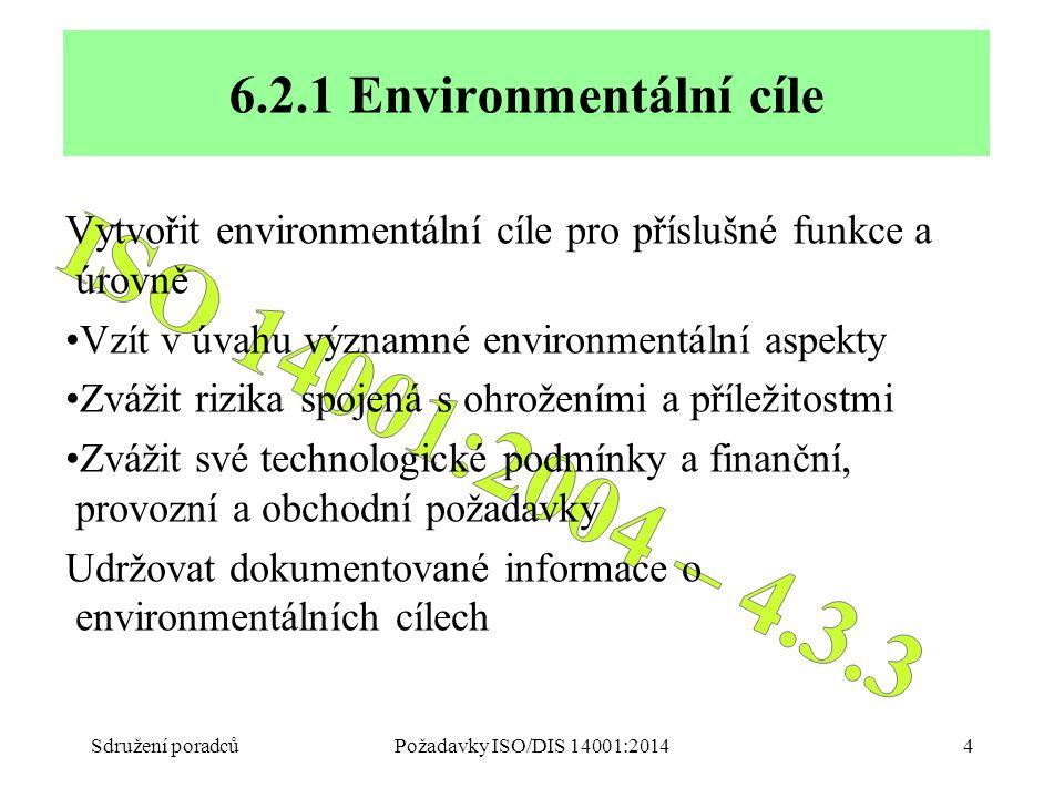 Sdružení poradcůPožadavky ISO/DIS 14001:20144 6.2.1 Environmentální cíle Vytvořit environmentální cíle pro příslušné funkce a úrovně Vzít v úvahu významné environmentální aspekty Zvážit rizika spojená s ohroženími a příležitostmi Zvážit své technologické podmínky a finanční, provozní a obchodní požadavky Udržovat dokumentované informace o environmentálních cílech