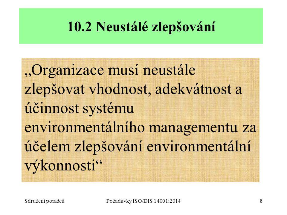 """""""Organizace musí neustále zlepšovat vhodnost, adekvátnost a účinnost systému environmentálního managementu za účelem zlepšování environmentální výkonnosti Sdružení poradcůPožadavky ISO/DIS 14001:20148 10.2 Neustálé zlepšování"""