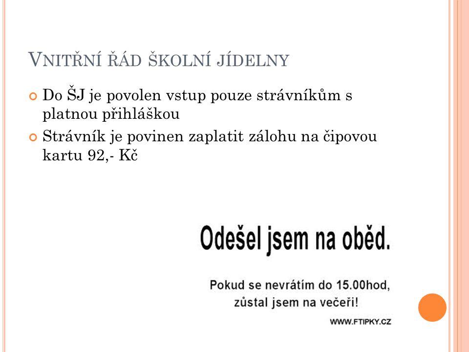V YDÁVÁNÍ OBĚDŮ Pro žáky ZŠ 11:45 - 14:00 hodin