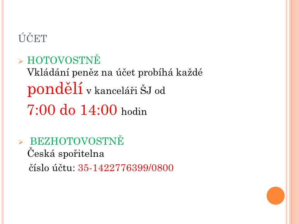 ÚČET  HOTOVOSTNĚ Vkládání peněz na účet probíhá každé pondělí v kanceláři ŠJ od 7:00 do 14:00 hodin  BEZHOTOVOSTNĚ Česká spořitelna číslo účtu: 35-1