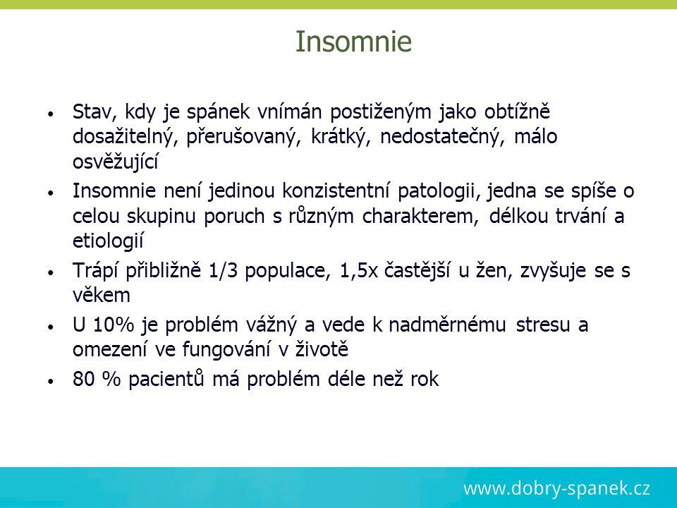 Insomnie Stav, kdy je spánek vnímán postiženým jako obtížně dosažitelný, přerušovaný, krátký, nedostatečný, málo osvěžující Insomnie není jedinou konz