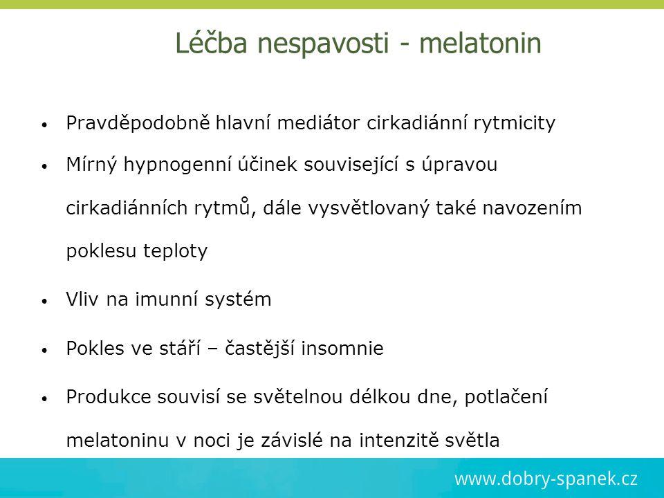 Léčba nespavosti - melatonin Pravděpodobně hlavní mediátor cirkadiánní rytmicity Mírný hypnogenní účinek související s úpravou cirkadiánních rytmů, dá