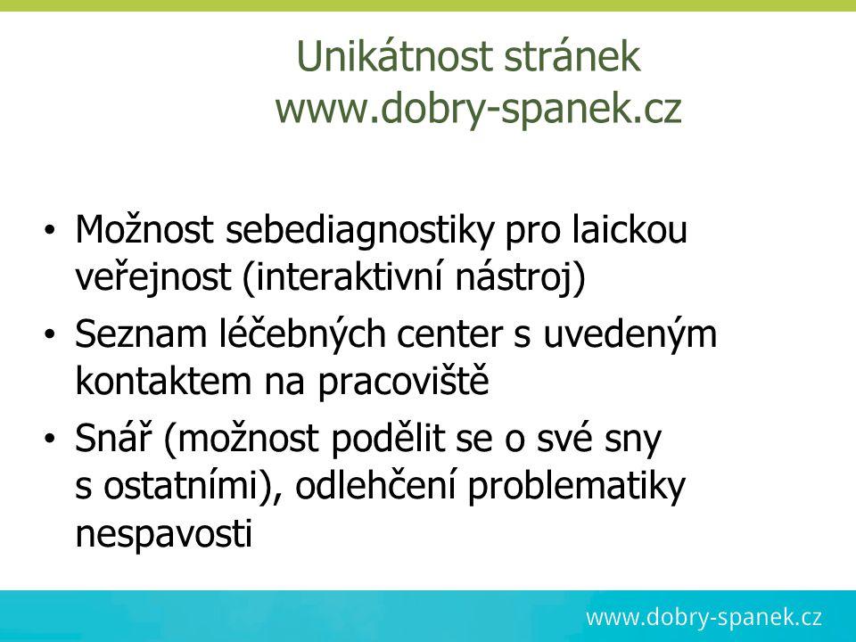 Unikátnost stránek www.dobry-spanek.cz Možnost sebediagnostiky pro laickou veřejnost (interaktivní nástroj) Seznam léčebných center s uvedeným kontak
