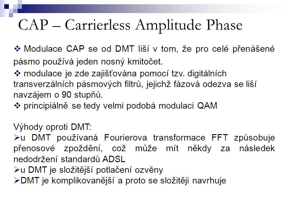 CAP – Carrierless Amplitude Phase  Modulace CAP se od DMT liší v tom, že pro celé přenášené pásmo používá jeden nosný kmitočet.  modulace je zde zaj