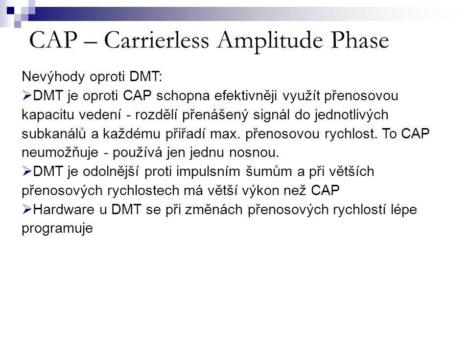 CAP – Carrierless Amplitude Phase Nevýhody oproti DMT:  DMT je oproti CAP schopna efektivněji využít přenosovou kapacitu vedení - rozdělí přenášený s