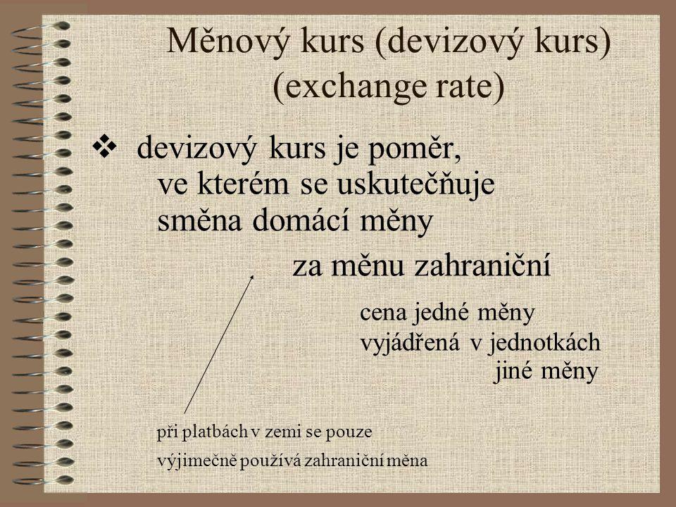 Měnový kurs (devizový kurs) (exchange rate)  devizový kurs je poměr, ve kterém se uskutečňuje směna domácí měny za měnu zahraniční cena jedné měny vy