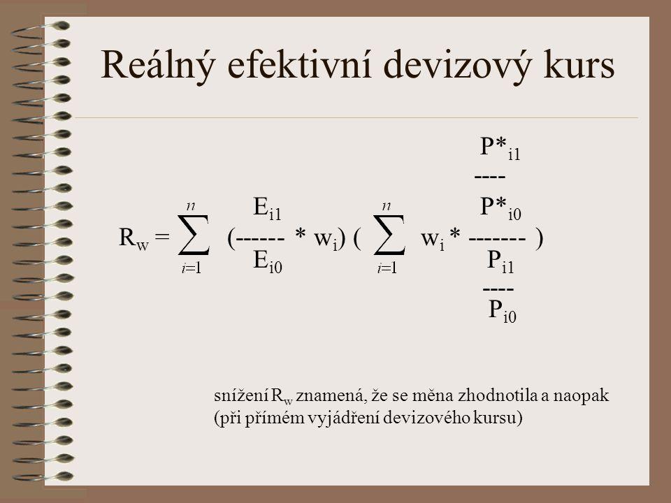 Reálný efektivní devizový kurs P* i1 ---- E i1 P* i0 R w = (------ * w i ) ( w i * ------- ) E i0 P i1 ---- P i0 snížení R w znamená, že se měna zhodn